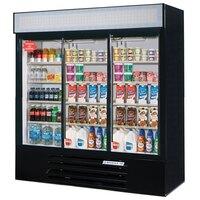 Beverage Air LV66Y-1-B LumaVue 75 inch Three Section Glass Door Black Merchandising Refrigerator - 70 Cu. Ft.