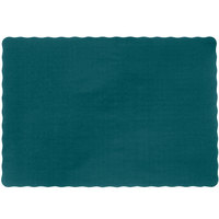10 inch x 14 inch Hunter Green Colored Paper Placemat with Scalloped Edge - 1000 / Case
