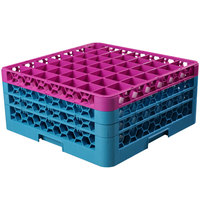Carlisle RG49-3C414 OptiClean 49 Compartment Glass Rack with 3 Color-Coded Extenders - Lavender / Carlisle Blue