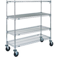 Metro A336BC Super Adjustable Chrome 4 Tier Mobile Shelving Unit with Rubber Casters - 18 inch x 36 inch x 69 inch