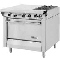 Garland M42-6S Master Series Natural Gas 2 Burner 34 inch Range with Even Heat Hot Top and Storage Base - 100,000 BTU