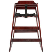 Lancaster Table & Seating Stacking Restaurant Wood High Chair with Mahogany Finish - Assembled