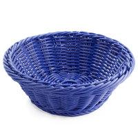 GET WB-1501-BL 9 1/2 inch x 3 1/2 inch Designer Polyweave Blue Round Basket - 12 / Case