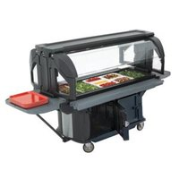 Cambro VBRU6110 Black 6' Versa Ultra Food / Salad Bar with Storage and Standard Casters