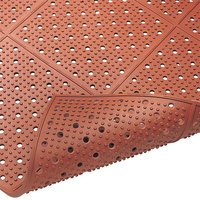 Cactus Mat 1640R-R364 REVERS-a-MAT 3' Wide Red Reversible Rubber Anti-Fatigue Safety Runner Mat - 3/8 inch Thick