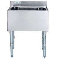 Regency 18 inch x 24 inch Underbar Ice Bin with 7 Circuit Post-Mix Cold Plate and Bottle Holders - 77 lb.