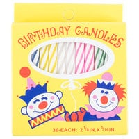 Sterno Products 40180 2-1/8 inch 36 Count Multi-Colored Birthday Candles - 12/Case
