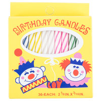 Sterno Products 40180 2-1/8 inch 36 Count Multi-Colored Birthday Candles - 12 Boxes / Case