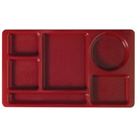 Cambro 915CW416 Camwear (2 x 2) 8 3/4 inch x 15 inch Cranberry Six Compartment Serving Tray - 24 / Case