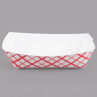 Southern Champion 401 #25 1/4 lb. Red Check Paper Food Tray - 1000/Case