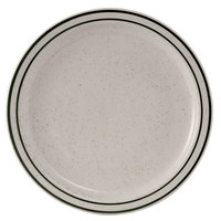 Tuxton TES-016 Emerald 10 1/2 inch Green Speckle Narrow Rim China Plate - 12/Case