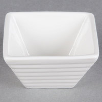 American Metalcraft SCR12 1.25 oz. White Square Ribbed Porcelain Sauce Cup