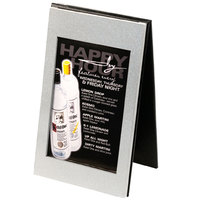 Menu Solutions MTDBL-411 Two View Brushed Aluminum Menu Tent with Picture Corners - 4 1/4 inch x 11 inch