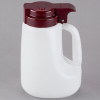 Tablecraft MW32M 32 oz. Option Dispenser with Maroon Top - 6/Pack
