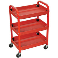 Luxor / H. Wilson ATC332 Red Three Shelf Utility Cart Adjustable - 15 1/2 inch x 22 inch x 32 inch
