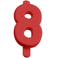 1 inch Red Molded Plastic Number 8 Deli Tag Insert - 50 / Set