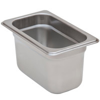 1/9 Size Standard Weight Anti-Jam Stainless Steel Steam Table / Hotel Pan - 4 inch Deep