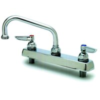 T&S B-1120-QT Deck Mount Workboard Faucet with 8 inch Centers and Polished Chrome Plated Escutcheon - 6 inch Spread