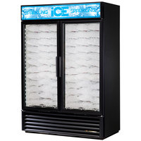 True GDIM-49NT-LD Black Tankless Two Section Glass Door Ice Merchandiser - 49 cu. ft.