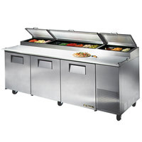 True TPP-93 93 inch Three Door Refrigerated Pizza Prep Table