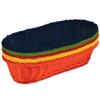 Tablecraft HM1118A Oblong Rattan Basket 15 inch x 6 1/2 inch x 3 1/4 inch Assorted Colors 5/Pack