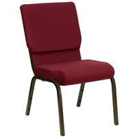 Burgundy 18 1/2 inch Wide Church Chair with Gold Vein Frame