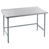 16 Gauge Advance Tabco TFAG-245 24 inch x 60 inch Super Saver Commercial Work Table with 1 1/2 inch Backsplash