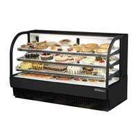 True TCGR-77 77 inch Black Curved Glass Refrigerated Bakery Display Case - 43 Cu. Ft.