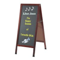 Aarco 42 inch x 18 inch Cherry A-Frame Sign Board with Black Write On Chalk Board