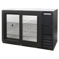 Beverage Air BB48GSY-1-B-PT-LED 48 inch Black Pass-Through Back Bar Refrigerator with Sliding Glass Doors - 115V