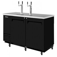 Turbo Air TBD-2SB Black 59 inch Beer Dispenser - 2 Kegs