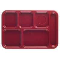 Cambro BCT1014416 Budget 6 Compartment Cranberry Serving Tray -10 inch x 14 1/2 inch - 24/Case