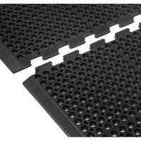 Cactus Mat 4420-CCWB VIP Duralok 3' 2 inch x 5' 1 inch Black Center Interlocking Anti-Fatigue Anti-Slip Floor Mat with Beveled Edge - 3/4 inch Thick
