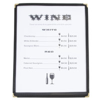 8 1/2 inch x 11 inch Single Pocket Menu Cover - Black