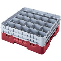 Cambro 25S1058416 Camrack 11 inch High Cranberry 25 Compartment Glass Rack