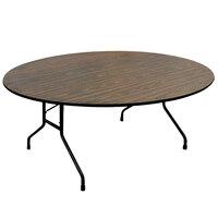 Correll CF48MR 48 inch Round Walnut Melamine Top Folding Table