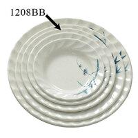 Blue Bamboo Melamine Curved Rim Plate – 8 inch 12 / Pack