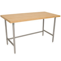 Advance Tabco TH2S-247 Wood Top Work Table with Stainless Steel Base - 24 inch x 84 inch