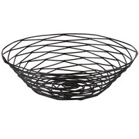 Tablecraft BK17510 Artisan Round Black Wire Basket - 10 inch x 3 inch