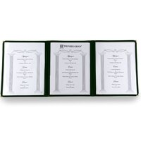 8 1/2 inch x 11 inch Three Pocket Clear Fold Over Menu Cover - Hunter Green