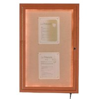 Aarco 48 inch x 36 inch Oak Finish Lighted Bulletin Board Cabinet