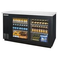 Beverage Air BB58GS-1-B-LED 58 inch LED Black Back Bar Wine Series Refrigerator - 2 Sliding Glass Doors