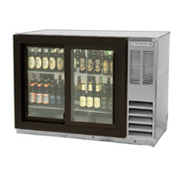 Beverage-Air BB48GSY-1-S-LED 48 inch Stainless Steel Back Bar Refrigerator with Two Sliding Glass Doors