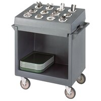 Cambro TDCR12180 Light Gray Tray and Dish Cart with Cutlery Rack and Protective Vinyl Cover