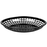 Tablecraft C1084BK Black Jumbo Oval Polypropylene Fast Food Basket 12 / Pack
