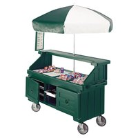 Cambro Camcruiser CVC724519 Green Vending Cart with Umbrella and 4 Counter Wells