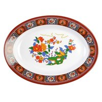 Peacock 9 inch x 6 3/4 inch Oval Melamine Deep Platter - 12 / Pack