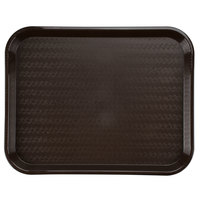 Carlisle CT141869 Customizable Cafe 14 inch x 18 inch Chocolate Brown Standard Plastic Fast Food Tray - 12 / Case