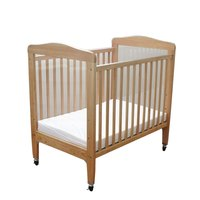 L.A. Baby WC-510A-N 24 inch x 38 inch Compact Wooden Window Crib with 3 inch Fire Retardant Mattress