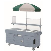 Cambro CamKiosk KVC856U191 Granite Gray Vending Cart with 6 Pan Wells and Umbrella